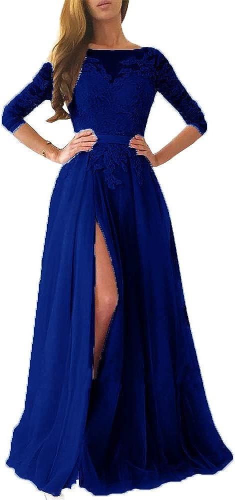EileenDor Womens Lace Appliques Half Sleeve Formal Dress Floor Length Tulle A Line High Split Evening Gown