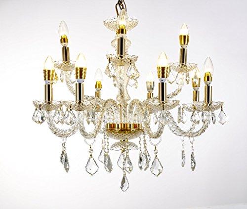 Elizabeth Lighting Crystal Chandeliers, Gold Finish, 12 Candles, Width 32