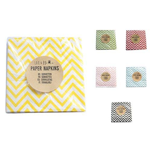 Partido servilletas de papel Chevron - Bazar para matrimonio cumpleaños (Amarillo, 100): Amazon.es: Hogar
