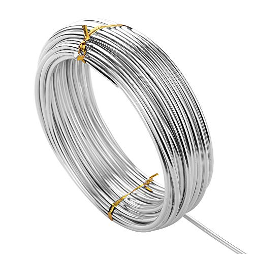 32.8 Feet Silver Craft Wire,DIY Aluminum Wire,Bendable Metal Wire for Assorted Crafts (3mm Thick) (Bendable Metal)