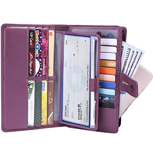 Leather Checkbook Organizer (Itslife Women's Big Fat Rfid Blocking Leather wallet clutch organizer with checkbook holder(Purple))