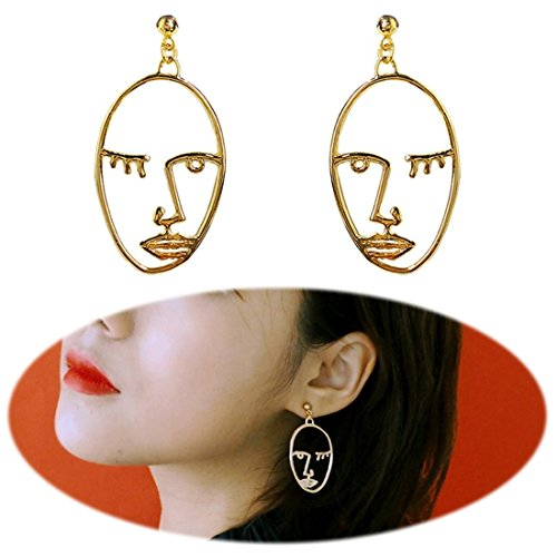 Earrings Picasso (Cleacloud Human Face Dangle Earrings Drop Hoops Studs Cuffs Ear Wrap Pin Vine Pierced Dangling Hollow Out Charms Jewelry Golden Plated Style 1)