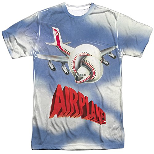 (Trevco Men's Airplane Double Sided Print Sublimated T-Shirt, White X-Large)
