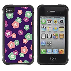 Suave TPU Caso Carcasa de Caucho Funda para Apple Iphone 4 / 4S / floral pattern purple pink teal pink / STRONG