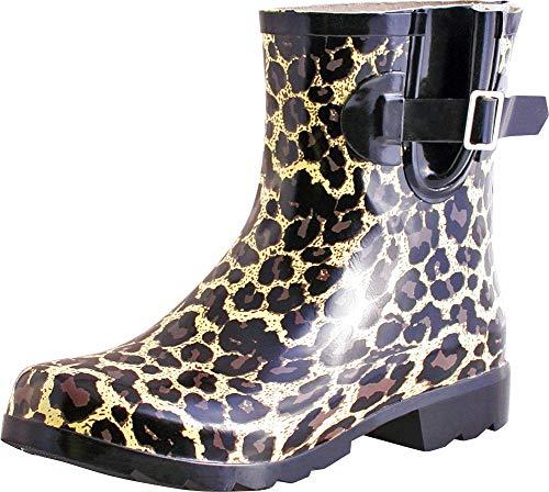 (TWO Nomad Women's Dew Waterproof Rubber Ankle Rain Boot,9 M US,Tan Leopard)