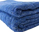 Biddy Murphy Wool Blanket Heavy Large King Sized Bed Throw 90' Wide by 108' Long Finished Edges Multiple Colors 100% Lambswool Made in Ireland Blue