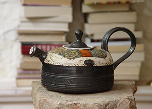 Handmade Pottery Teapot - Ceramic Tea Kettle - Earthen Tea Pot - Wheel Thrown Hand Painted Pot - Tea Maker - Functional Designer Pottery by DankoHandmade
