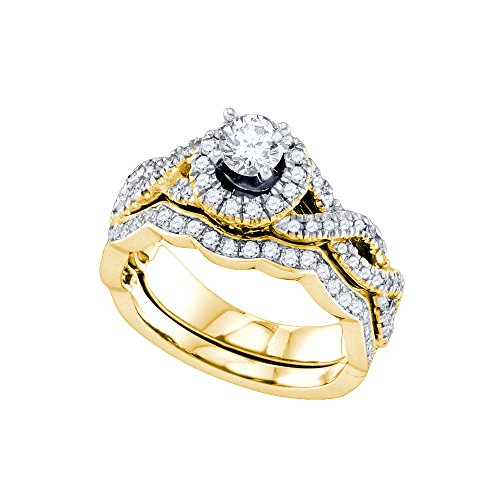 Diamond 14kt Brilliant Ring Gold (14kt Yellow Gold Womens Round Diamond Twist Halo Bridal Wedding Engagement Ring Band Set 1.00 Cttw)