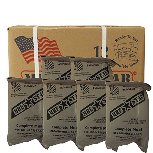 Half Case (total of 6 Individual Meals) of MRE Star Ready to Eat Complete Meals w/ Flameless Heaters - Variety of Meals - Great for Bugout Bug Out Survival Emergency Bags Kits for Disasters 2012 Zombie Apocalypse ()