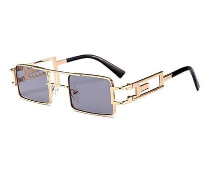 Huateng Steampunk Vintage non-polarisées Twin-Beams petites lunettes de  soleil carrées style gothique f871f329e433