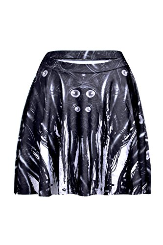 Lady Queen Women's Mechanical Tubing Stretchy Flared Pleated A-Line Skater Skirt Size L Black