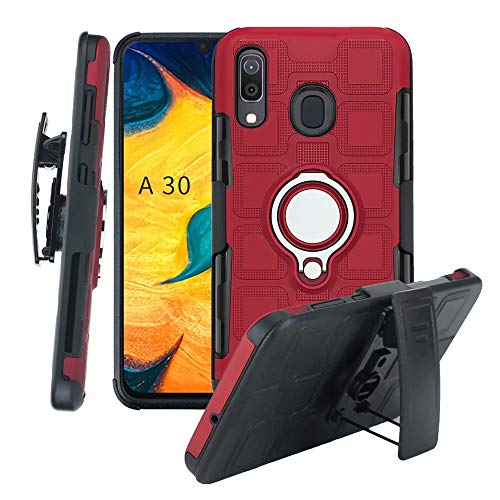 Lantier High Impact 3 Layer Hybrid Full Shockproof Armor Rugged Holster Protection Case with Kickstand Magnet 360 Degree Rotating Ring Belt Swivel Clip for Samsung Galaxy A20 A30 -