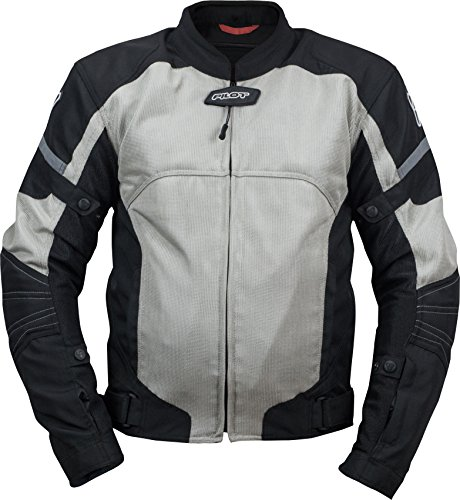 Pilot Motosport Men's Direct Air Mesh Motorcycle Jacket (V3) (Silver, X-Large)