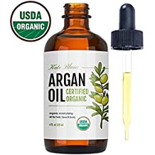 Moroccan Argan Oil (4oz), USDA Certified Organic, Virgin, 100% Pure, Cold Pressed by Kate Blanc. Stimulate Growth for Dry and Damaged Hair. Skin Moisturizer. Nails Protector. 1-Year Guarantee.