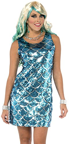 Forum Novelties Women's Sequin Mermaid Dress, Blue, X-Small/Small (Womens Fish Costumes)