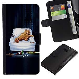 LECELL--Cuero de la tarjeta la carpeta del tirón Smartphone Slots Protección Holder For HTC One M8 -- DIVERTIDO LAZY GARF CAT --