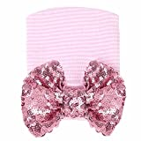 iEFiEL Newborn Baby Girls Knitted Hospital Hat Beanie with Glitter Sequins Big Bow Pink 0-3 Months