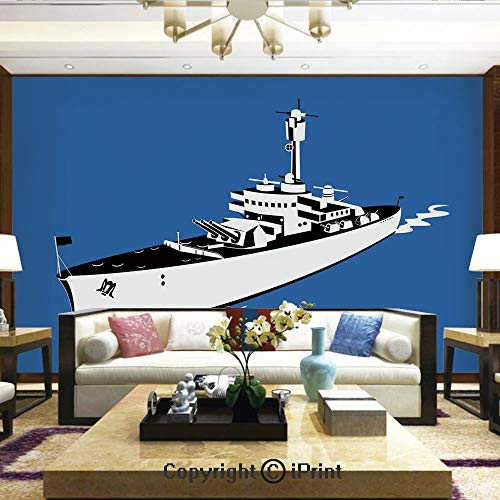Lionpapa_mural Artistic Background Removable Wall Mural Self-Adhesive,Navy Force War Ship Boat Sealife Ocean Themed Animation Like Image,Home Decor - 66x96 inches