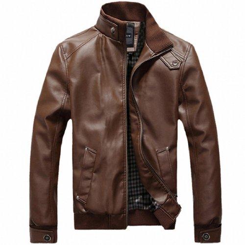 Partiss Mens Slim Fit PU Faux Leather Motorcycle Blazer, Medium,Brown