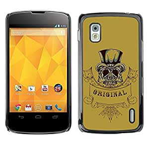 Be Good Phone Accessory // Dura Cáscara cubierta Protectora Caso Carcasa Funda de Protección para LG Google Nexus 4 E960 // Original Top Hat Gentleman Skull