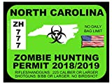 North Carolina Zombie Hunting Permit(Bumper Sticker)