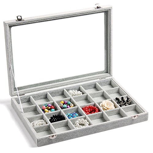 NEOTEND Glass Lid Jewelry Tray 24 Grid Velvet Showcase Display Organizer Gray by NEOTEND (Image #8)