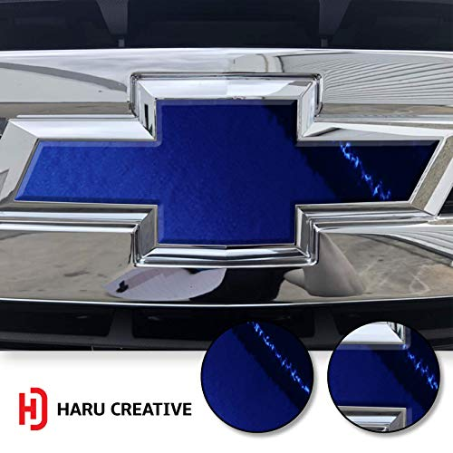 (Haru Creative - Front Hood Grille Bowtie Emblem Overlay Insert Inlay Vinyl Decal Sticker Compatible with and Fits Chevy Silverado 2019 - Chrome Blue )