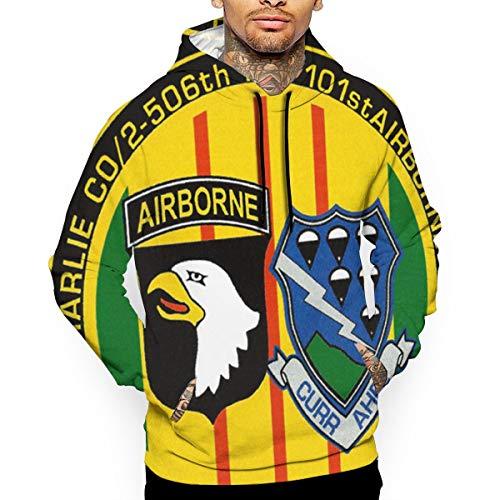 506th Infantry,101st Airborne Men's Hooded Hoodie Sweatshirt Pullover White ()