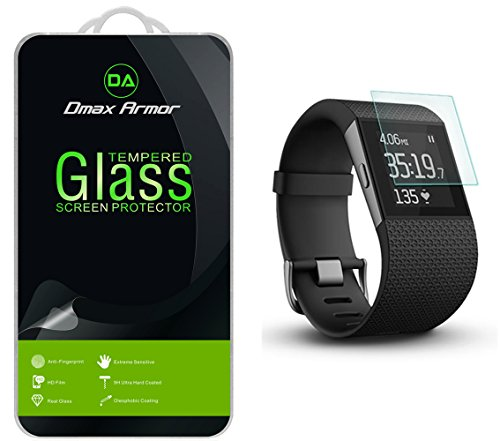 Anti Surge Glass ([2-Pack] Fitbit Surge Fitness Superwatch Screen Protector, Dmax Armor [Tempered Glass] 0.3mm 9H Hardness, Anti-Scratch, Anti-Fingerprint, Bubble Free, Ultra-clear)