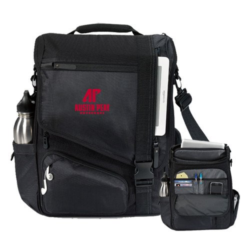 Austin Peay Momentum Black Computer Messenger Bag 'AP Austin Peay Governors - Official Athletic Logo' by CollegeFanGear
