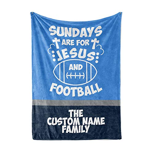 (Tennesee Titans Family Jesus and Football Blanket - Personalized Custom Snuggly Fleece Blanket with Your Family Name)