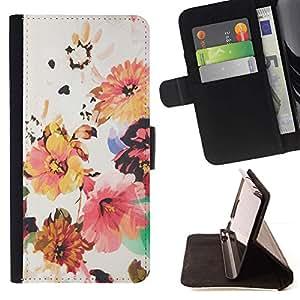For HTC One M9 Case , Flor Wallpaper Tela Beige- la tarjeta de Crédito Slots PU Funda de cuero Monedero caso cubierta de piel