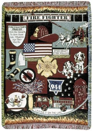 Simply Home Fire Fighter Fireman Theme Print 3 Layer Afghan Throw Blanket 50