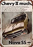 1968 Chevy Nova SS Vintage Look Reproduction Metal Tin Sign 7X10 Inches
