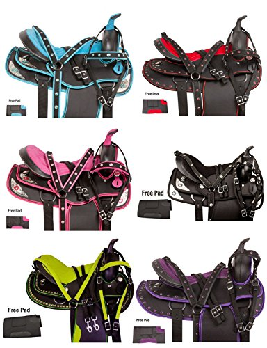 AceRugs Beautiful Western Pleasure Trail Barrel Racing Show Horse Saddle Free TACK Set PAD Silver Crystals (Black, 17)