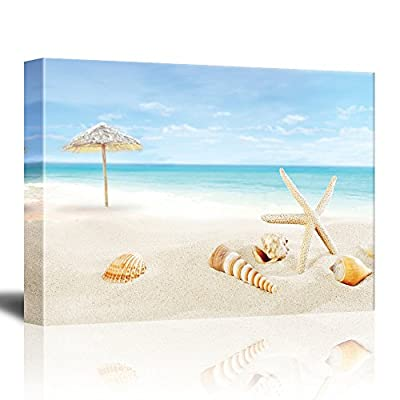 Scenery of Tropical/Summer Resort. White Beach with Starfish and Seashells | Gallery Wrapped Canvas & Ready to Hang - 32