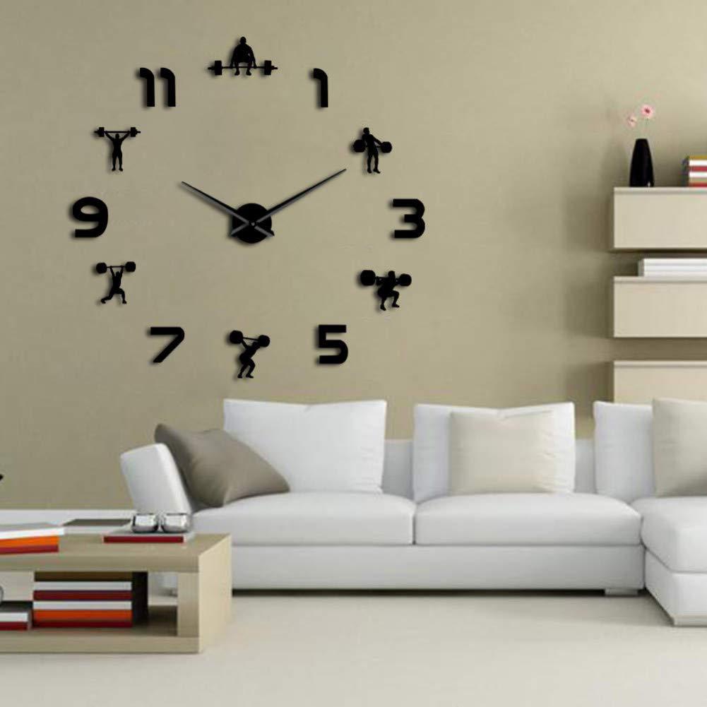 HDNFW Horloge Murale Halt/érophilie Salle de Fitness D/écoration Murale DIY Horloge Murale Effet Miroir Powerlifting sans Cadre Grande Horloge Murale Montre Murale-47inch
