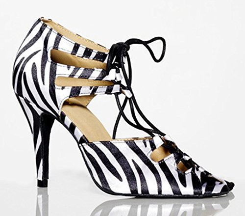 Tda Mujeres Sexy Con Cordones Peep Toe Satin Salsa Tango Ballroom Latin Dance Zapatos Black