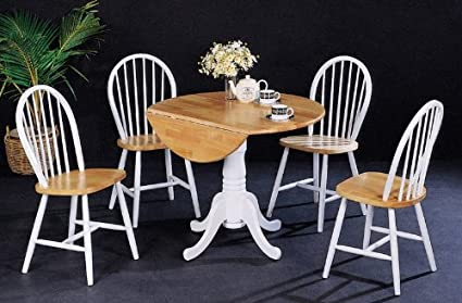 Image Unavailable Not Available For Color 5pc Dining Table Chairs Set Cottage Style White Natural Finish