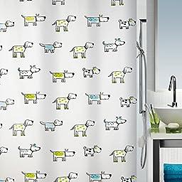 Spirella Green Doggi Waterproof PEVA Shower Curtain, Swiss Design Cartoon Dog Shower Curtain, 180cm*200cm