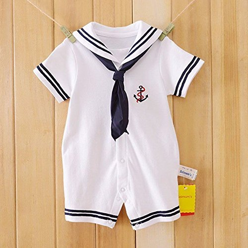 Dragon Honor Baby Boys Girls Sailor One Piece Bodysuit Navy Romper Outfit Clothes Neckerchief