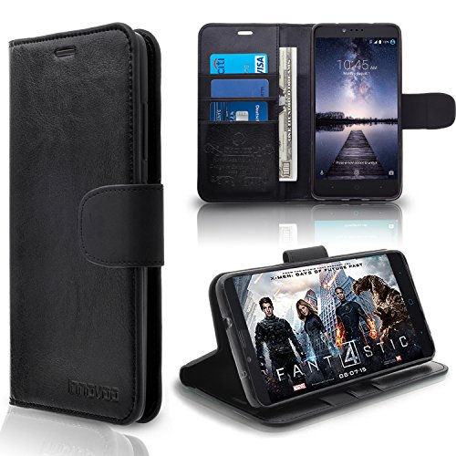 ZTE Zmax Pro / Z981 Case, INNOVAA Premium Leather Wallet Case with STAND Flip Cover W/ Free Screen Protector & Touch Screen Stylus Pen - Black