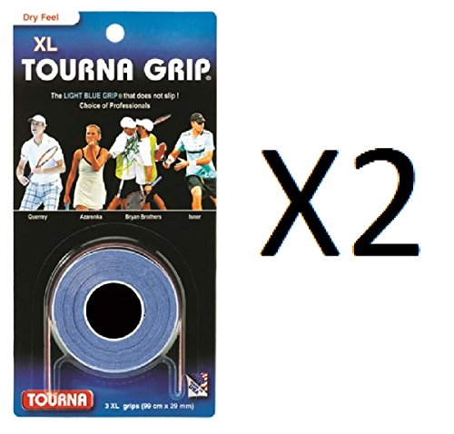 Tourna Tennis 3 XL Overgrips Absorbent Dry Feel Tournagrip Blue (2-Pack)