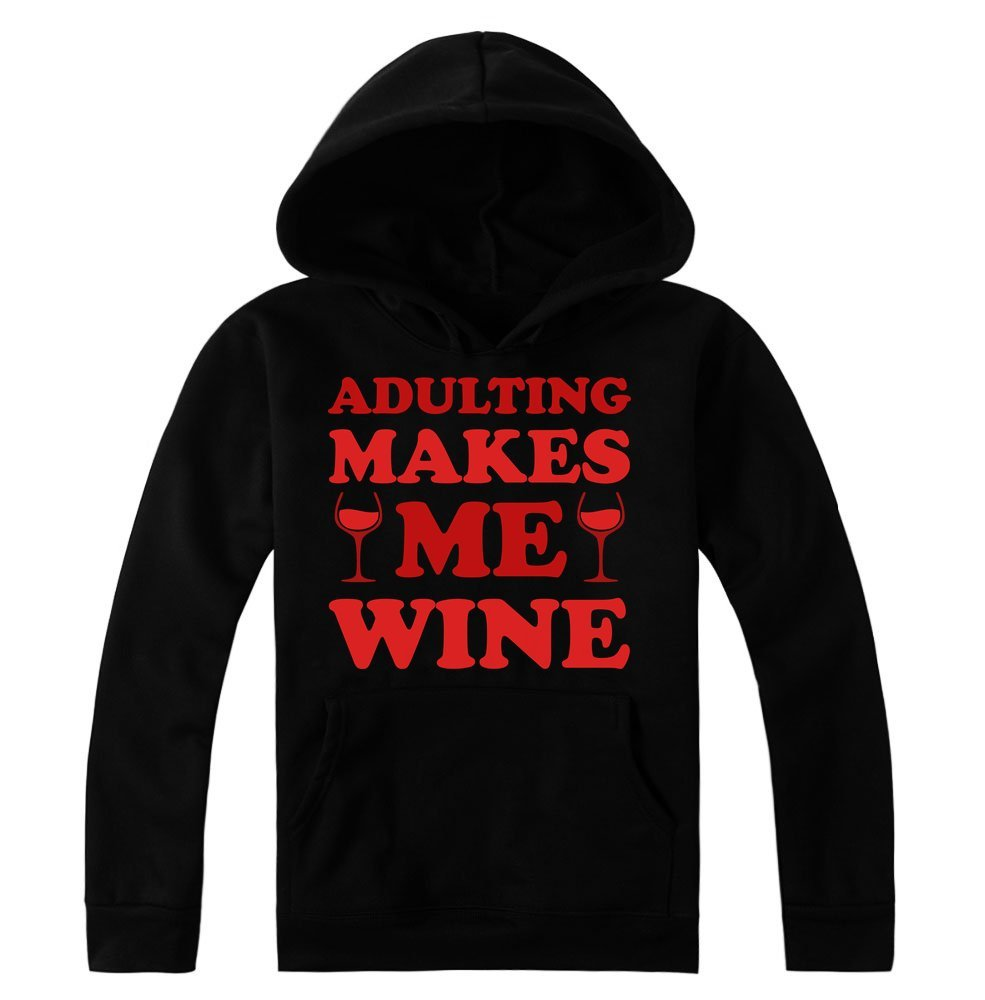 idcommerce Adulting Makes Me Wine Two Glasses of Wine Women's Hoodie Pullover XX-Large