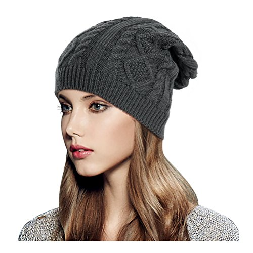 Glamorstar Women Cable Knit Beanie Winter Warm Crochet Hats Chunky Stretch Ski Cap Dark Gray