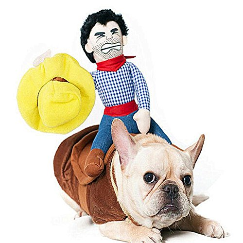 SEALEN Cowboy Rider Dog Costume, Knight Style with Doll and Hat for Dog and Cat Dress, Funny Pet Clothes(S M L XL)