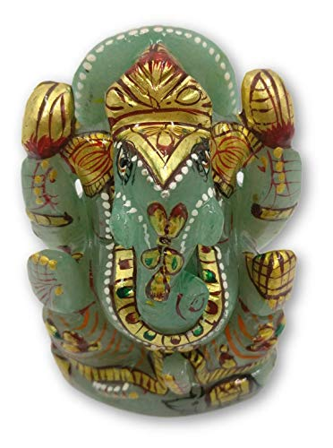 Green Aventurine stone Ganesh Statue 3 inches with Gold foil work - Ganesha gifts | Idol | figurines in Gemstones 3 Stone Gold Foil