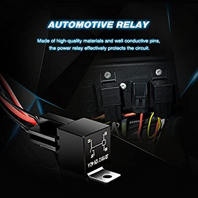 Nilight 16AWG DT Connector Wiring Harness Kit LED Light Bar 12V On Off Switch Power Relay Blade Fuse for Off Road Lights LED Work Light-2 Leads,2 Years Warranty: Automotive