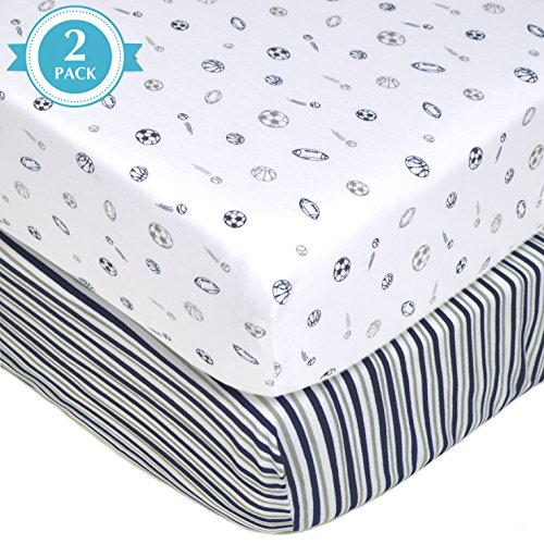 (American Baby Company 2 Piece Printed 100% Cotton Jersey Knit Fitted Crib Sheet for Standard Crib and Toddler Mattresses, Navy/Grey Sports Stripes)