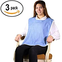 Terry Cloth Adult Bib with Velcro Closure - 3 Pack (Blue)